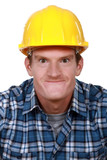 Tradesman making a silly face poster