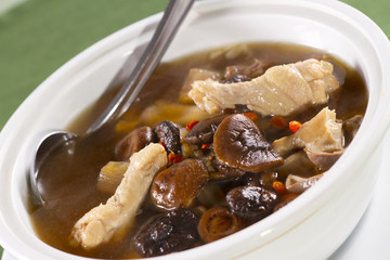 Chinese soup, Chinese style soup with mushroom and chicken