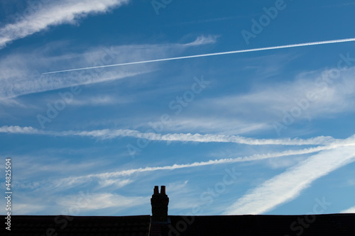 Aircraft Vapour Trails and Rooftops