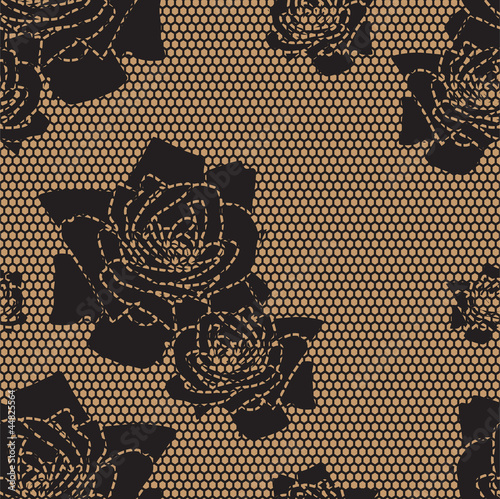 Fototapeta na wymiar Black lace vector fabric seamless pattern with roses