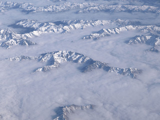 View from sky of Southern Alps, New Zealand