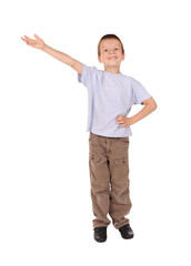 boy shows gesture welcome