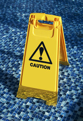 Slippery floor surface warning sign