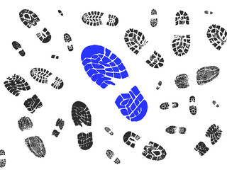 One big blue shoe print