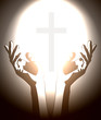 hand and christian cross silhouette