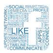 Negative space F with social media keywords