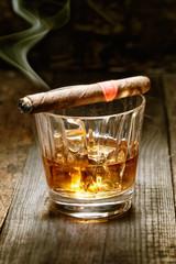 Cuban cigar on whisky