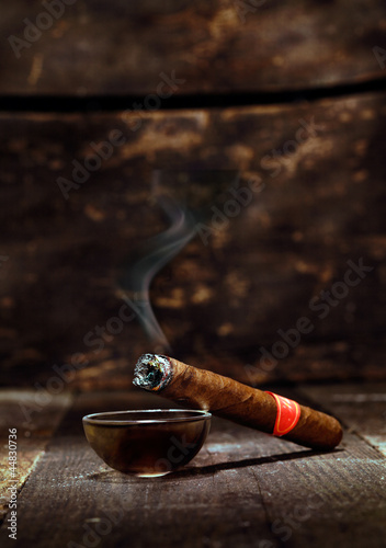 Burning luxury Cuban cigar