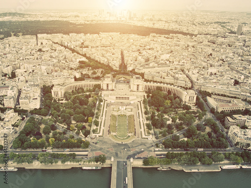 Vintage Aerial view on Trocadero from the Eiffel tower