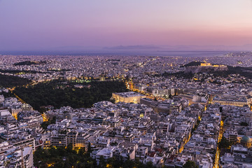 sunset in Athens aerial view