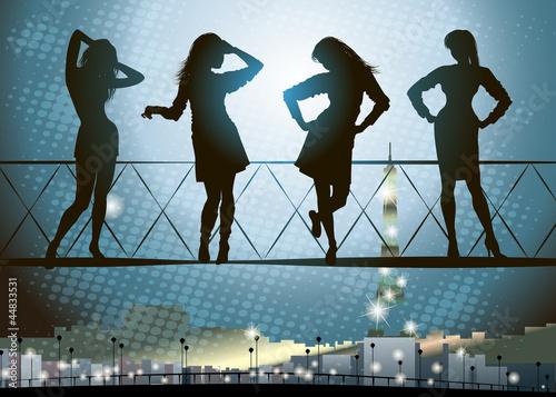 Silhouette of girls in Paris