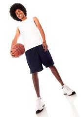 Man holding a basketball ball