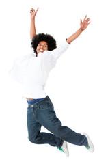 Black man jumping