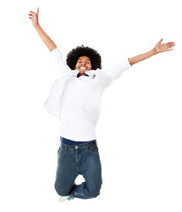 Excited black man jumping