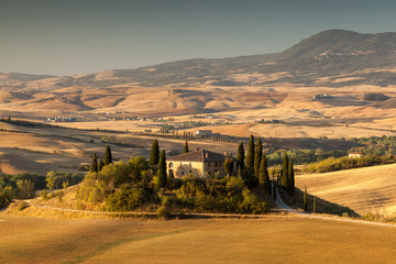Sunrise in tuscan countryside, San Quirico d Orcia, Italy