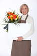 Florist with a board left blank for your message
