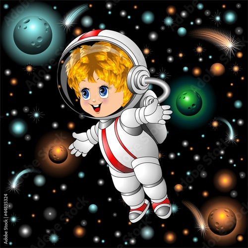 Baby Spaceman Astronaut Cartoon on Space-Bambino Astronauta
