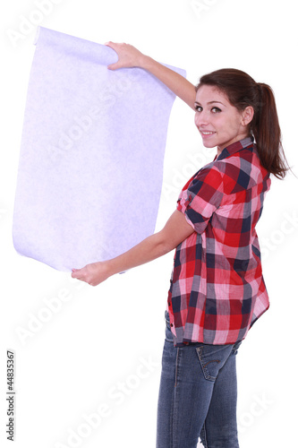 Woman looking at wallpaper
