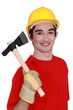 Worker with ax