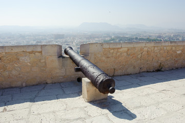 Medieval cannon in the Castle of Santa Barbara, Alicante Spain