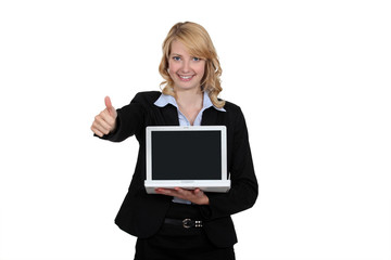 Woman happy with her laptop