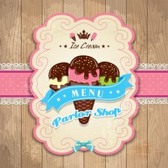 Vintage frame with icecream template