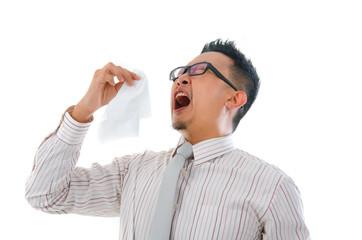 asian business man having a flu