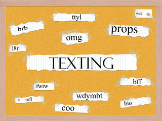 Texting Corkboard Word Concept