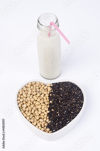 fresh soy milk and raw soy bean mix with black sesame
