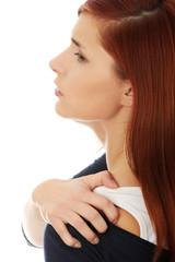 Woman heaving back ache