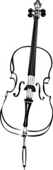 a sketch of musical string instrument stringed cello