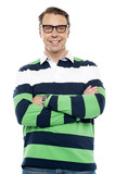 Confident smiling young chap with spectacles poster