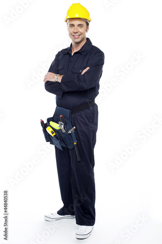 Repairman with tools pouch around his waist