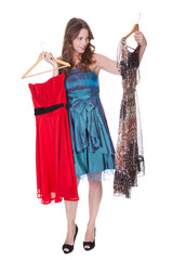 Fashion model with choice of dresses