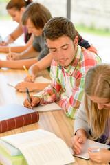 High-school student peeking at his colleague quiz
