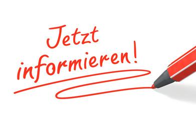 Stift- & Schriftserie: Jetzt informieren! rot