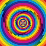 Infinite arrow shaped spiral rainbow elements. poster