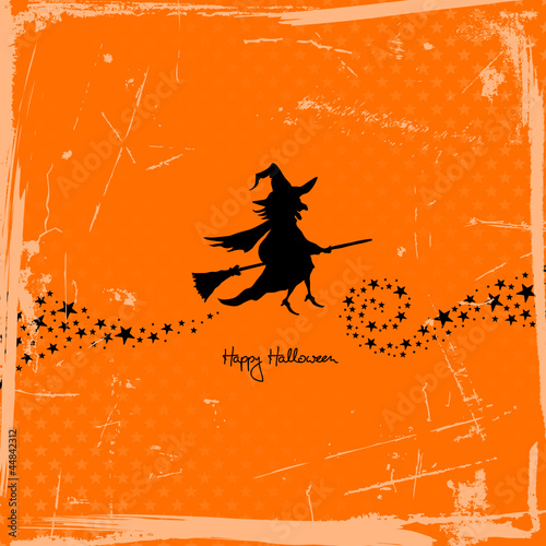 Halloween Flying Witch Retro