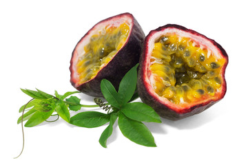Ripe passion fruit with leaves