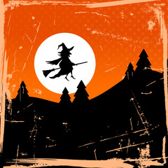 Halloween Background Flying Witch & Full Moon Retro