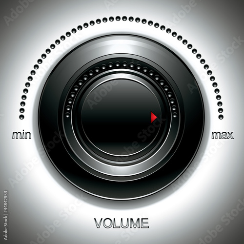 Black volume knob with calibration.