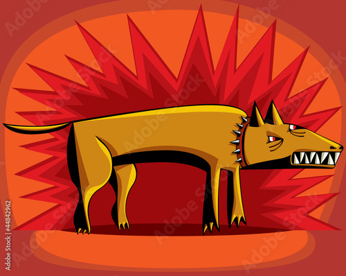 Angry dog growling over red flash background.