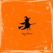 Halloween Card Flying Witch Retro