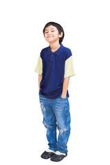 Smiling asian boy posing