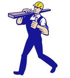 Carpenter Tradesman Carrying Timber Lumber poster