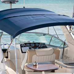 yacht cabin interior with table