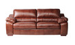 Beautiful genuine leather sofa in brown color