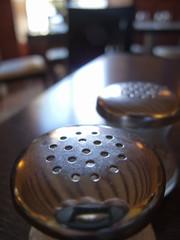 Close up of restaurant salt and pepper shaker