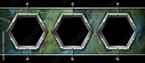Three Hexagonal Metal Frames on a Grunge Wall