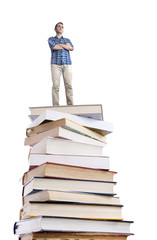 Man standing on a stack of books